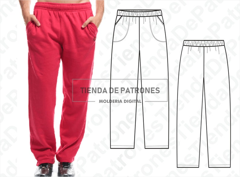 Pack Size S Pattern PDF Sewing Pattern Digital 2XL PATTERN Jogging Pants for Men Instant Download