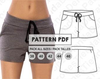 PATTERN Short Sport Pants for Womens, Women's Shorts, Sewing Pattern, Digital, Pattern PDF, Pack Size 38 - 46, Instant Download