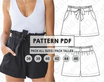 PATTERN Short Pants for Womens, Women's Shorts, Sewing Pattern, Digital, Pattern PDF, Pack Size 36 - 46, Instant Download