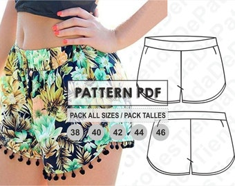 PATTERN Short Pants for Womens, Women's Shorts, Sewing Pattern, Digital, Pattern PDF, Pack Size 38 - 46, Instant Download