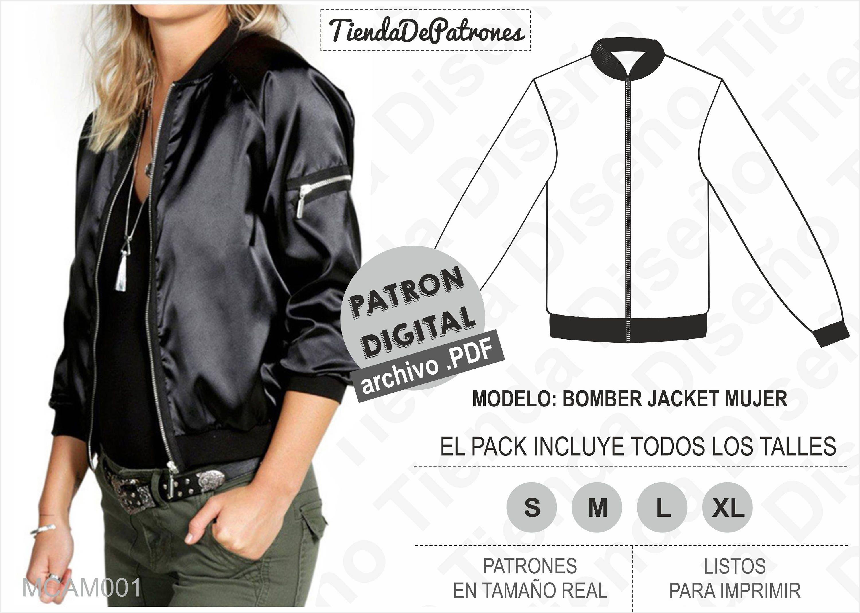 PATRON Bomber Jacket Mujer, Patrón de costura, Digital Imprimible, Patron  en PDF, Pack todos los talles S al XL. Envío Gratis.
