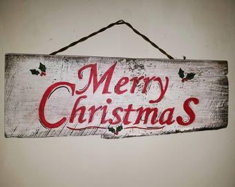 Hand-painted distressed wood Christmas sign