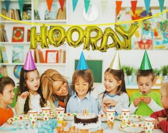 "8"" HOORAY Birthday Balloon - Gold foil"