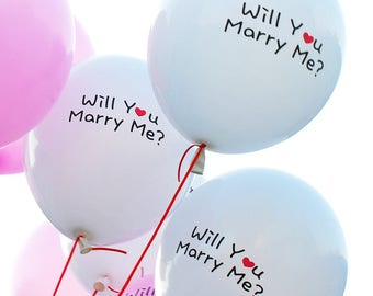 Latex Will You Marry Me White Balloons - 12pack