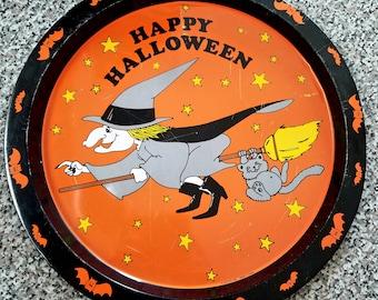 Vintage Halloween tin tray