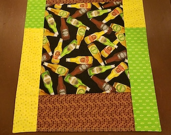 """Fun and festive beer themed table runner or decoration- 12 1/4"""" by 29 1/2"""""""