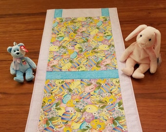 """Colorful sweet multicolored pastel """"Easter egg"""" table runner- 13.5"""" by 35"""""""