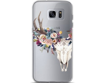 Boho Phone Case, Feather Deer Skull, iPhone 7 Plus iPhone 8 iPhone X, Samsung Galaxy S8 S9 Plus, Watercolor Flowers, Clear Phone Case