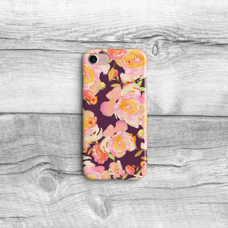 Flower Phone Case, LG V30 G6, Google Pixel XL, iPhone 6, iPhone 7, iPhone  8, iPhone X, Samsung Galaxy S8, Watercolor Floral, Peach Rose Case