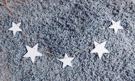 Fait à la main en argile étoile guirlande Bunting - décor de chambre d'enfant