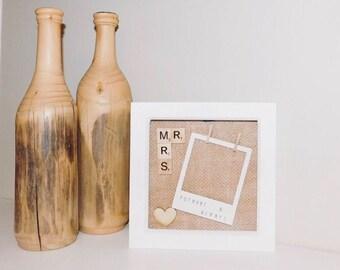 Scrabble Mr&Mrs shabby chic frame