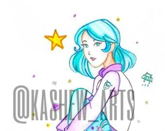 Space Girl Watercolor Print