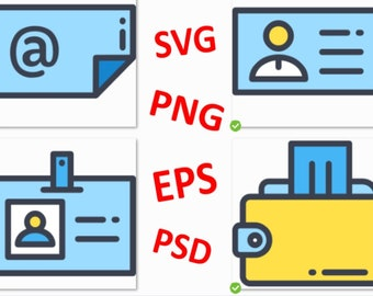 Business Card Clipart (25 SVG-PNG-EPS-Psd Silhouette, Instant Digital Download,Product code# 180525-C