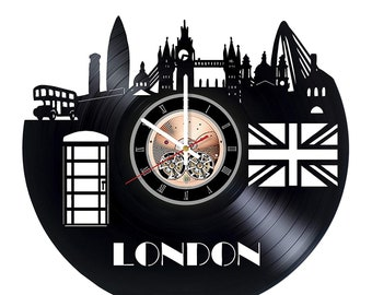 London Capital City Home Art Decor Vinyl Wall Clock Great Britain Gift Idea For Him And Her Birthday Gifts Christmas