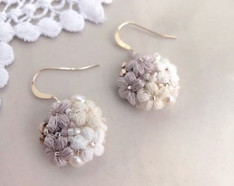 Mother's Day flower dangle earring with Swarovski crystal - neutral color jewelry - bridesmaid crochet flower earrings - bridesmaid gift