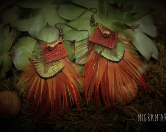 Earrings feathers and leather Peacock/pheasant