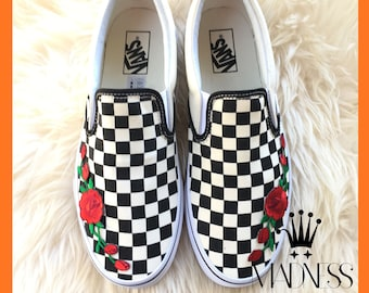 3e8f3b169663 Vans Slip on hand customized embroidered rose floral patch unisex sneakers