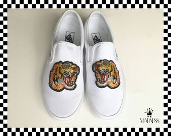 59b284cdb7 Vans Slip on hand customized embroidered tiger patch unisex sneakers