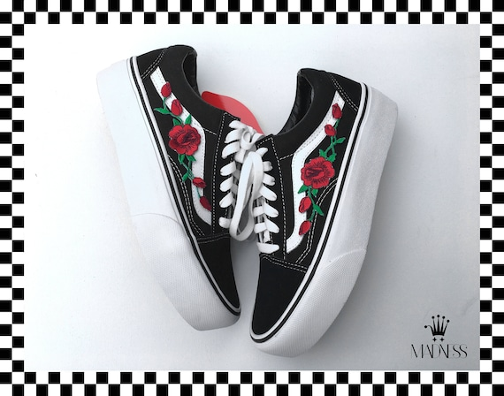 Vans Skool Custom Platform Rose Fast Sole Etsy Shipping Old FvxPft