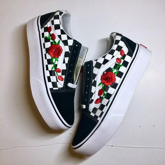 PLATFORM Vans vieux skool Checkerboard à la main brodé ebrogé rose patch  baskets unisexes