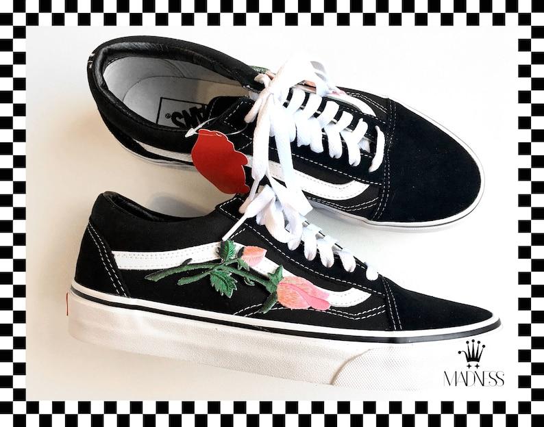 Vans Old Skool Hand angepasst gestickte rose Blumen Patch unisex Turnschuhe