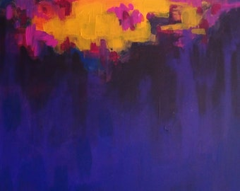 Original Abstract Painting on Canvas, Ultraviolet.