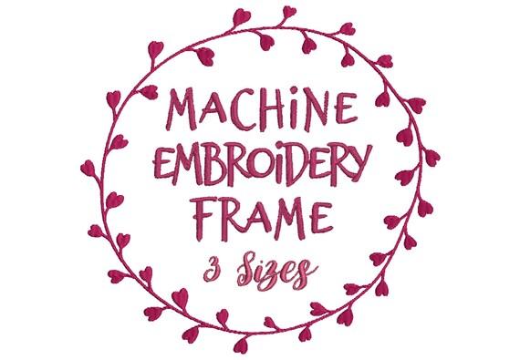 leaf heart frame embroidery design for machine embroidery - for embroidery  quotes and monograms - 10 formats including pes file