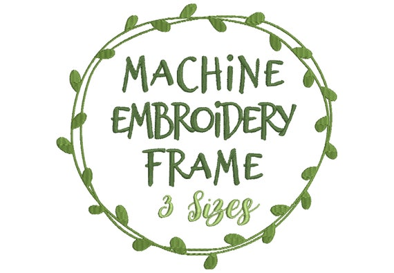 leaf frame embroidery design for machine embroidery - for embroidery quotes  and monogram designs - 10 formats including pes file
