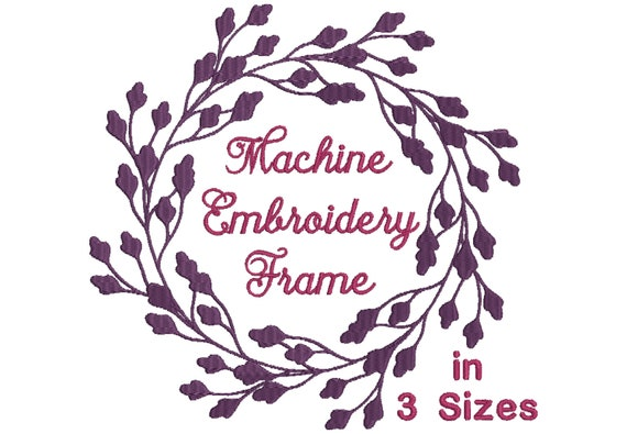 Leaf frame embroidery design for machine embroidery in 3 sizes - for  embroidery quotes and monogram designs - 10 formats including pes file