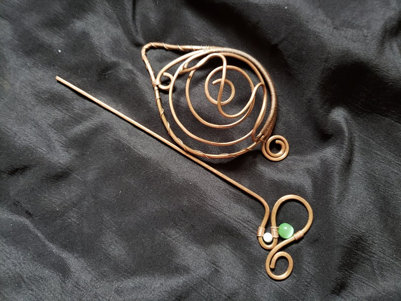 Copper Bun Holder and stick\\ Copper wire Bun Holder\\ Copper hair barrette with pin\\ Leaf bun maker and hair stick\\ bun cage with Hair pin