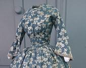 Stunning 1840s Silver Blue Silk Brocade Dress - 18th Century Silk Georgian Victorian Antique Fashion