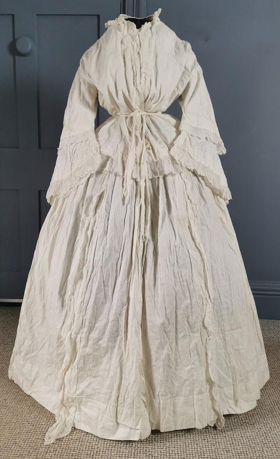 RARE Victorian Antique 1850s Crinoline Morning Rob