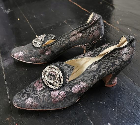 Glittering Antique 1910s / 1920s Floral Silk Eveni