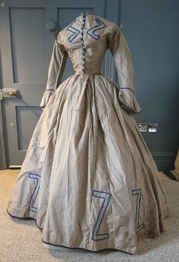 Quirky 1860s Civil War Era Silk Crinoline Dress Victorian | Etsy