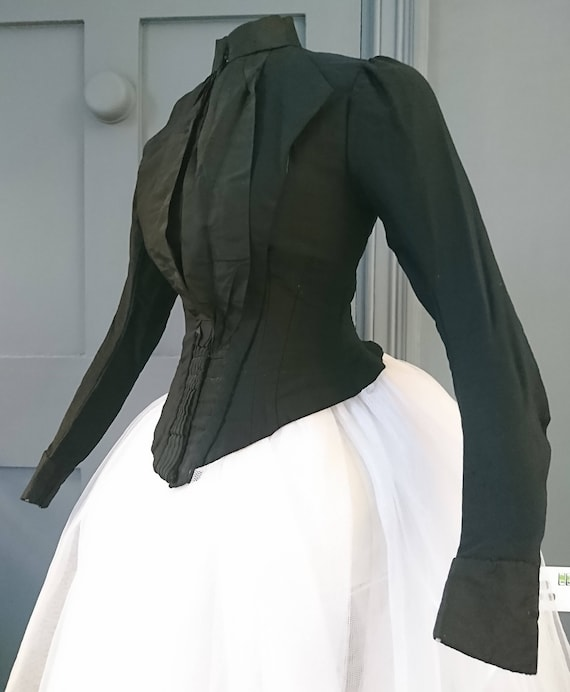 Smart 1880s Mourning Bustle Day Bodice - Victorian