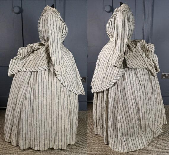 Stylish & Rare 1860s / 1870s Seaside Bustle Dress