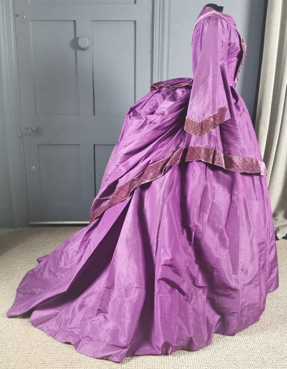 Magnificent Late 1860s / 1870s Purple Silk Bustle