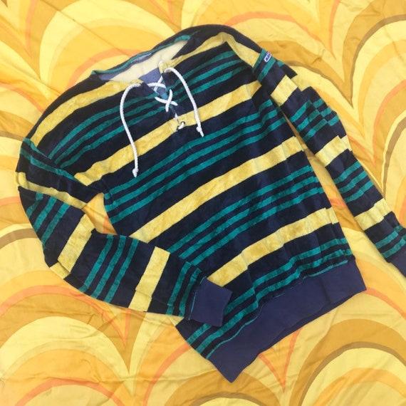 Vintage Velour Jumper Sweater Top 70s Stripes Navy