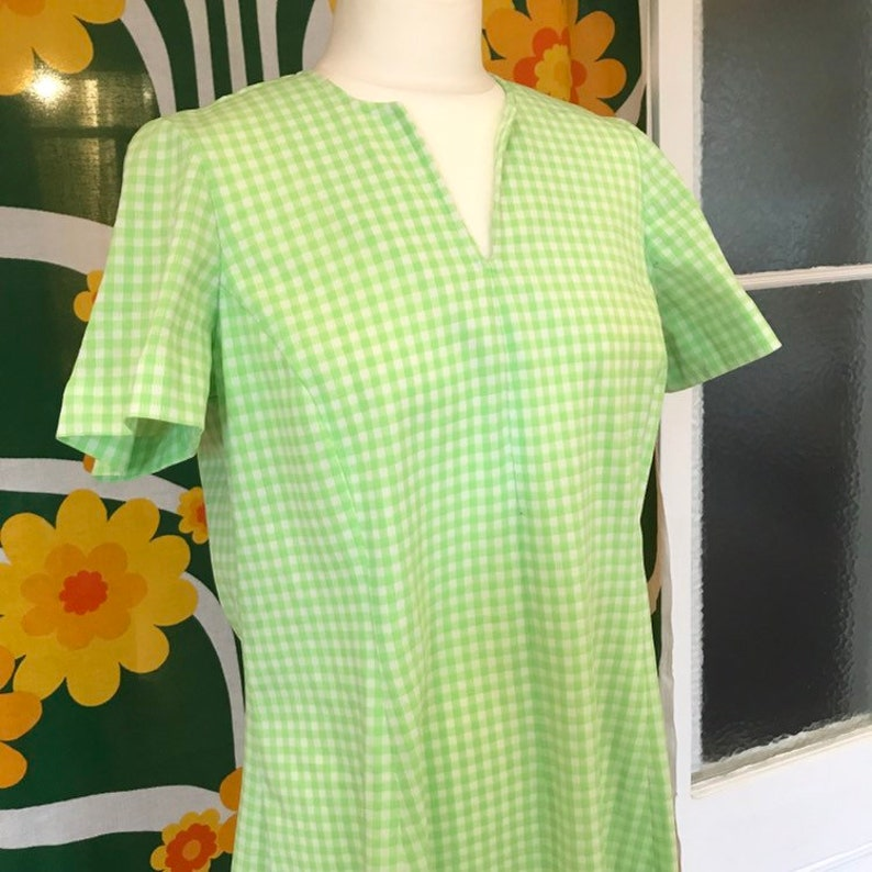 Vintage Gingham Dress Lime Green White Day Glo Glow Neon Checked L Mod Scooter Retro 60s 70s 1960s 1970s V-Neck