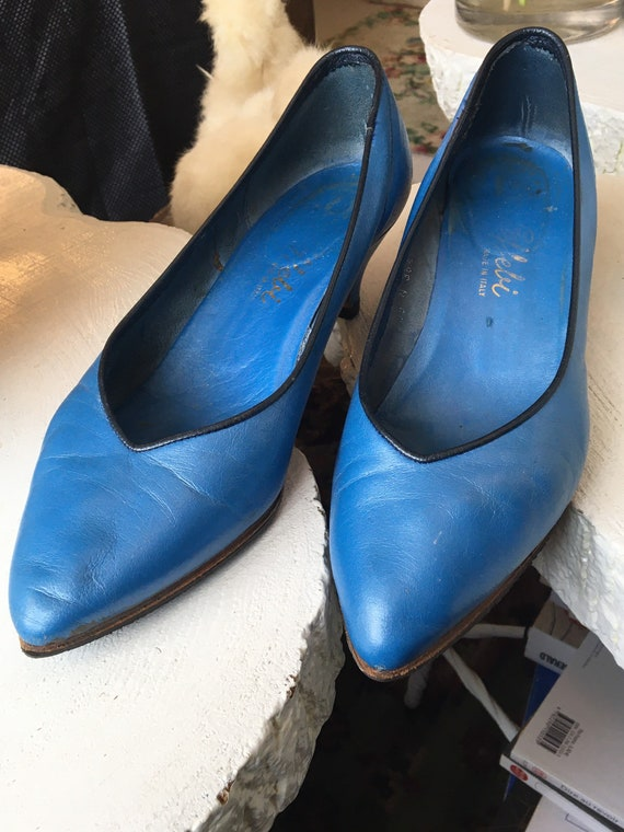 Rare Heel Shoes Shoes Italy Electric Blue Leather