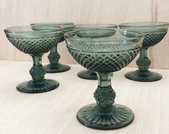 5 glasses champagne  from Marinha Grande factory, Portugal. Green/Grey
