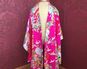 Antique/Vintage Japanese Silk Brilliant Pink Kimono for girls