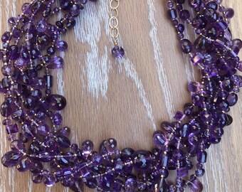 TOP Grade Multi-strand Facet Purple Amethyst Adjustable Necklace