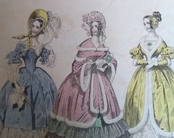 Coloured fashion plate for The Beau Monde December 1837