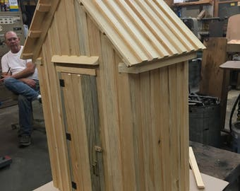 Outhouse Handmade ,folk art, Outhouse ,                 1/4 scale,house, decoration ,