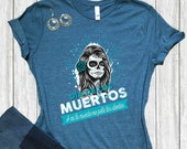 Dia de los Muertos Halloween Shirts Day of the Dead Sugar Skull Art Unisex Jersey T-shirt