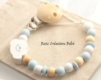 Pacifier clip boy cloud sky blue and natural wood