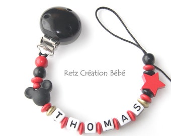 Pacifier clip black and red wood