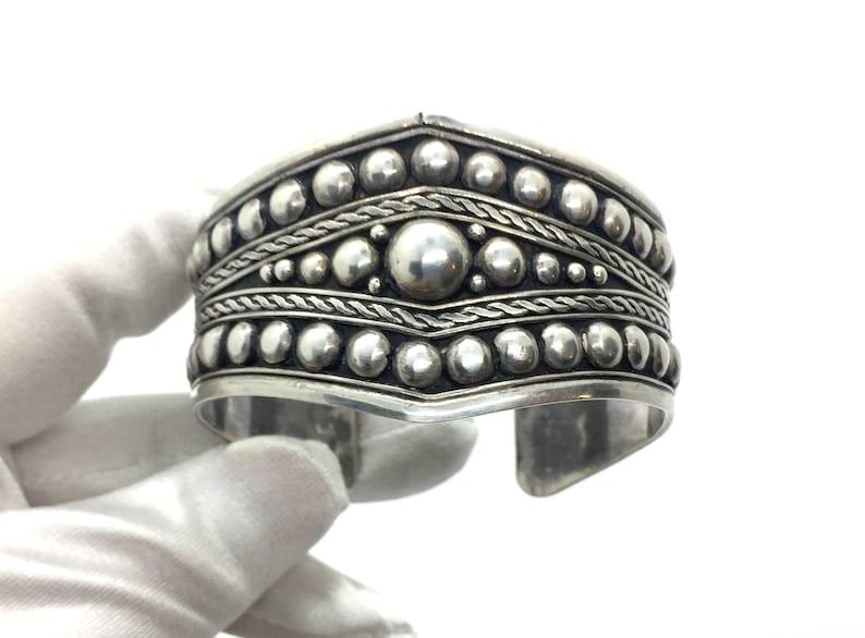 Vintage 70/'s Sterling Silver Modernist Era Ball Wide Cuff Bracelet