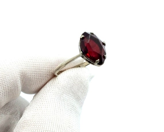 Antique 1920's Art Deco Sterling Silver Ruby Paste